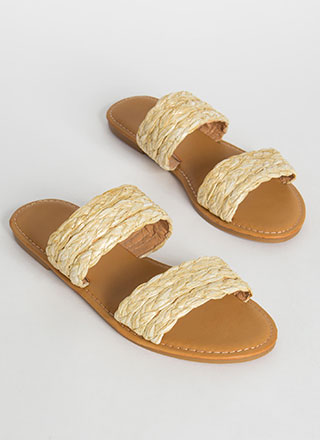 It's Only Natural Raffia Slide Sandals