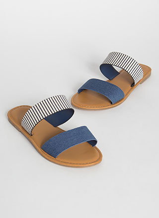 Two Cute Striped Denim Slide Sandals