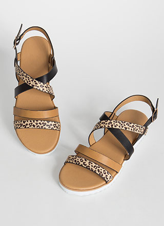 A Little Wild Leopard Strappy Sandals