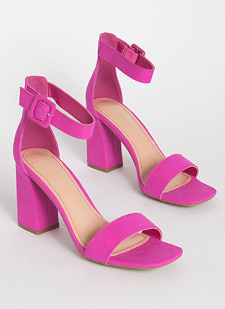 Fashion Buyer Chunky Faux Suede Heels