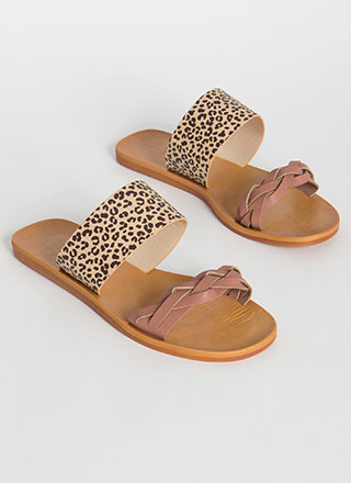 Leaping Leopard Braided Slide Sandals