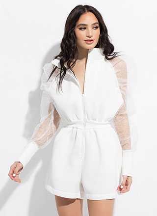Dot The Eyes Puffy Sheer Sleeve Romper