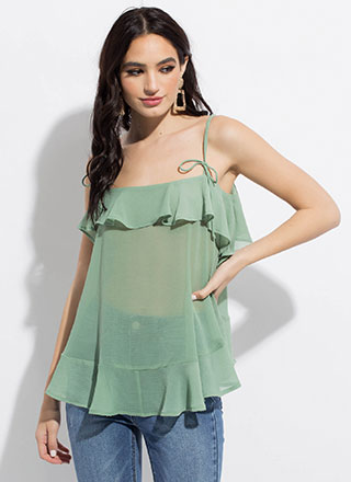 Light And Airy Ruffled Tie-Strap Top