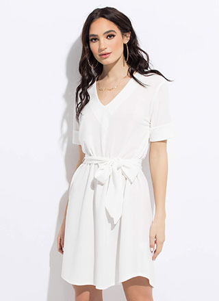 Shift In Perspective Tied Midi Dress