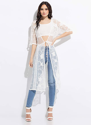 Sheer Elegance Embroidered Lace Duster