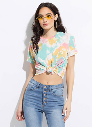 Knot Just A T-Shirt Tied Tie-Dyed Top