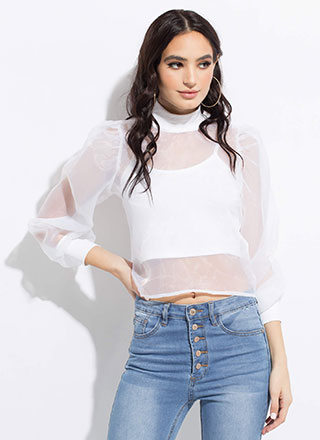 Over Under Layered Sheer Mesh Blouse