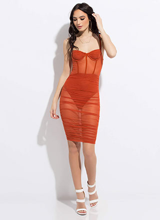 Sex On Legs Sheer Mesh Midi Dress