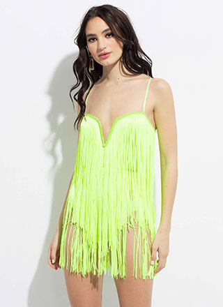 Show Girl Plunging Fringed Minidress
