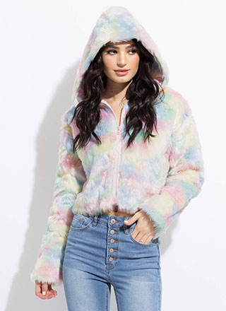 Cotton Candy Dyed Hooded Faux Fur Jacket