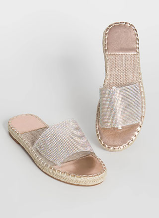 Vacay Braided Rhinestone Slide Sandals