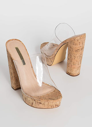 Clearly Cork Chunky Illusion Mule Heels