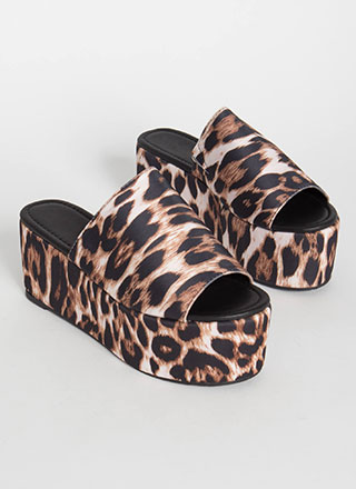 Slide Into My Leopard Wedge Sandals