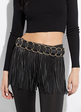 Fringe Fan Ringed Faux Leather Belt