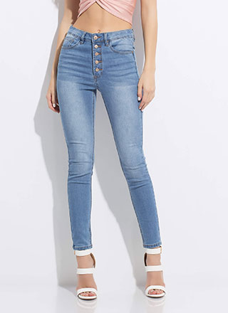 Gimme Five Button-Fly Skinny Jeans