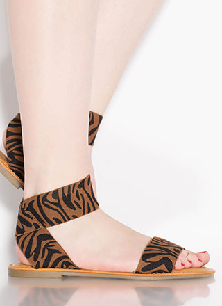 Stripe Up The Band Tiger Print Sandals