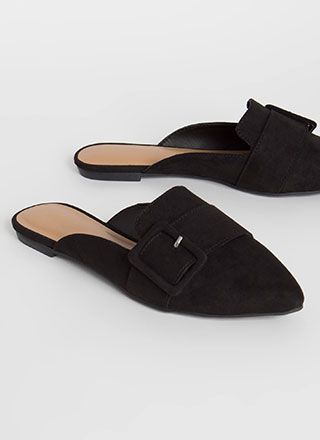 Working Girl Buckled Mule Flats