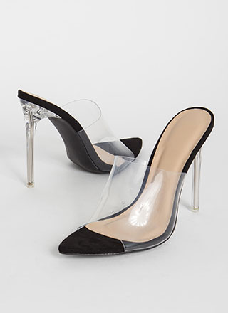 Clear A Path Peep-Toe Mule Heels