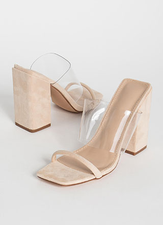 Architecture Clear Illusion Block Heels