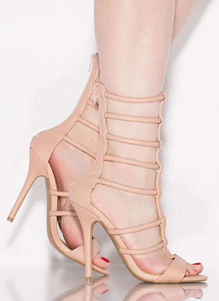 Gladiator Glam Cut-Out Caged Heels