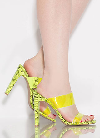 Snake Myself Clear Strappy Mule Heels