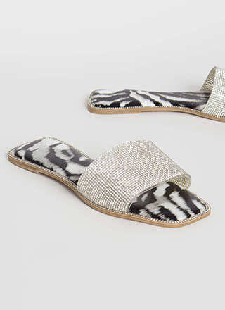 Inner Animal Rhinestone Slide Sandals