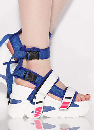 Straps And Buckles Sporty Wedge Sandals