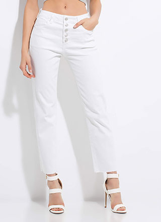 Keep It Straight-Leg Button-Fly Jeans