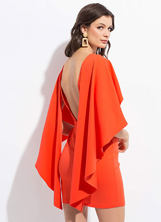 Wing Leader Backless Caped Minidress