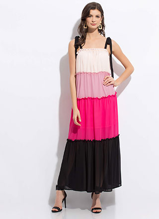 Happy Tiers Tie-Strap Colorblock Maxi