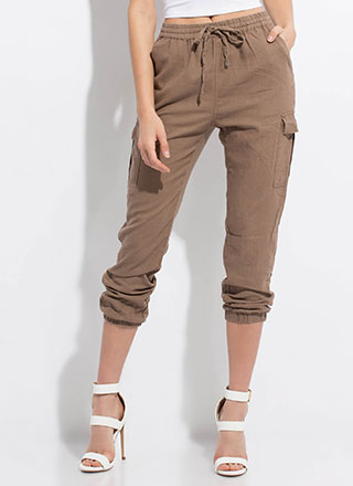 Laid-Back Weekend Linen Cargo Joggers