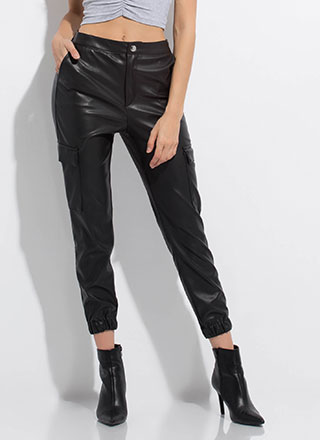 Sidecar Moto Faux Leather Cargo Joggers