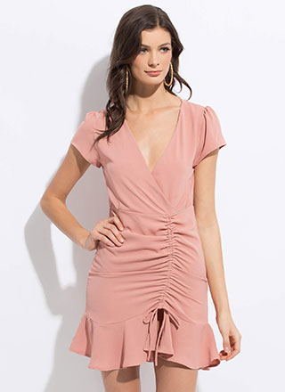 Brunch Date Shirred Ruffled Dress