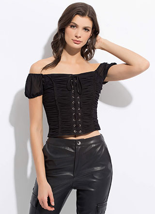 My Lady Lace-Up Shirred Off-Shoulder Top