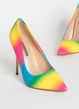 Make Me Happy Pointy Rainbow Pumps