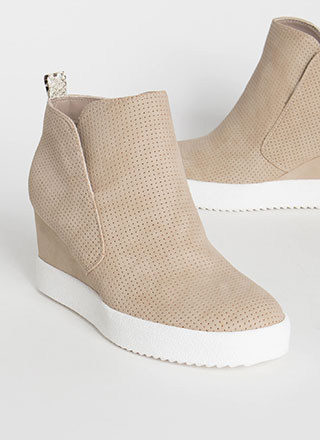 Wild Side Perforated Wedge Booties