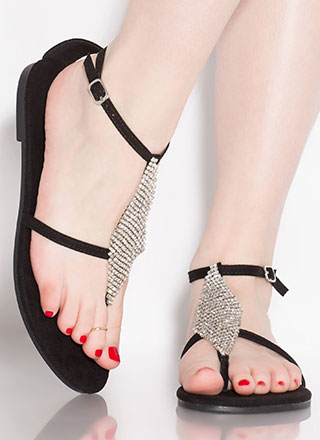 More Diamonds Strappy Faux Suede Sandals