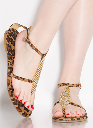 More Diamonds Strappy Leopard Sandals