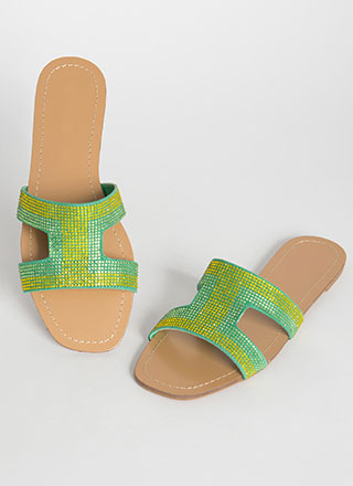 Glitz Jeweled Cut-Out Slide Sandals