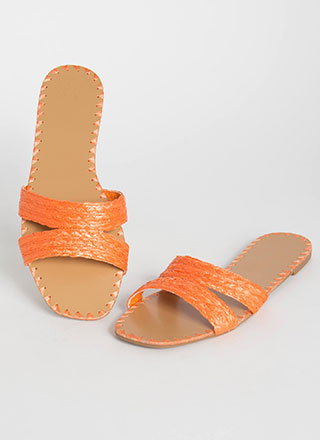 Summer Fiesta Raffia Slide Sandals