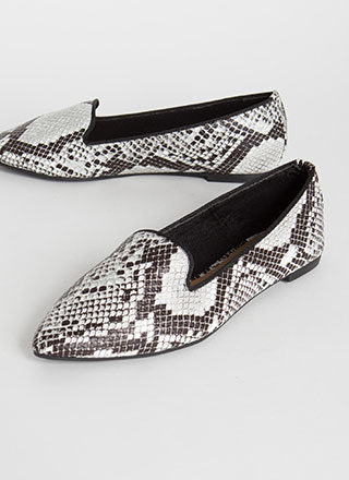 Fashion Diary Snake Print Smoking Flats