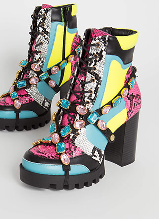 Mood Snake Print Jewel Strap Booties