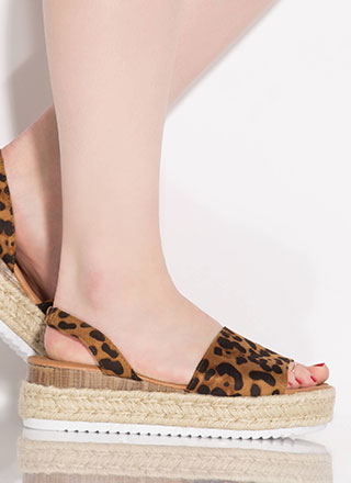 Beachy Leopard Slingback Wedge Sandals