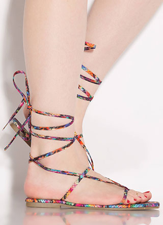 Laces Wild Snake Print Thong Sandals