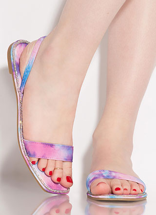 Glitzy Jeweled Tie-Dye Slingback Sandals