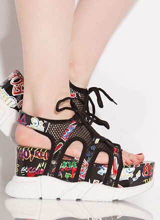 I'm A Big Deal Graffiti Wedge Sandals
