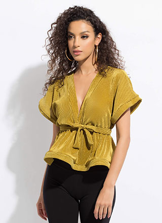 In The Near Future Tied Peplum Top