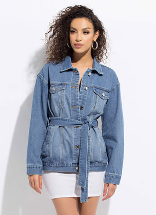 Dreaming In Denim Tied Jean Jacket