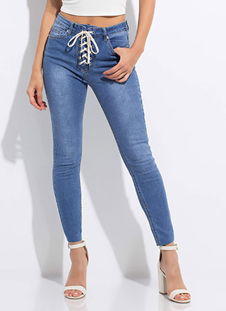 So Fly High-Rise Lace-Up Skinny Jeans