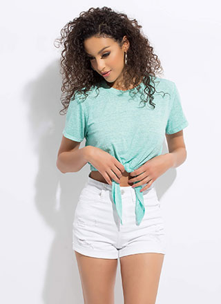 Tie Game Knotted Heathered Crop Top
